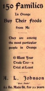 An advertisement in the 1910 centennial commemorative booklet for Orange touts the virtues of a local grocer. Wheeler Memorial Library collection.