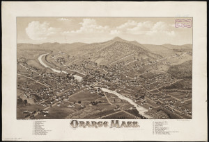 The 1883 bird's-eye map of Orange gives a sense of how the town had become quite industrial but also how close its farms and orchards still were to the center. Map from the Norman B. Leventhal Map Center, Boston Public Library. Click for larger image.